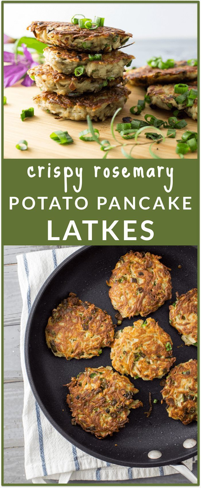 These garlic latkes (i.e., potato pancakes) are the perfect brunch food. Veganize with flax meal or chia seed.