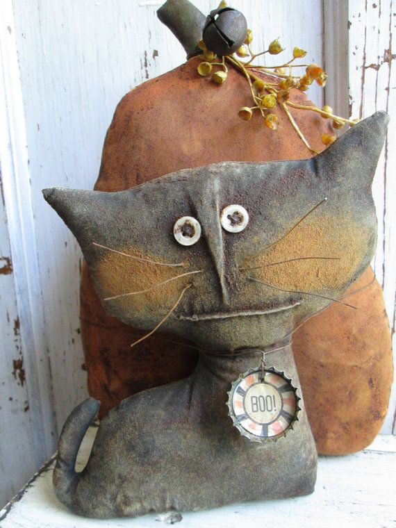 Primitive Grungy Pumpkin and Cat Folk Art Doll by OldeAtticPrims, $30.00