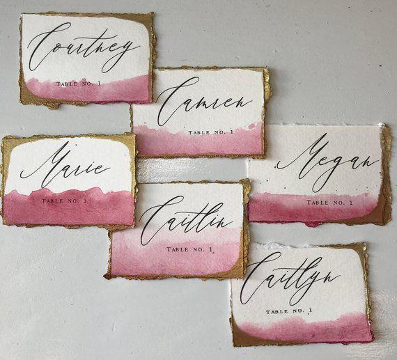 Watercolor Deckle Edge Place Cards 300 Gsm Wine Invitations Wedding Place Cards Place Cards