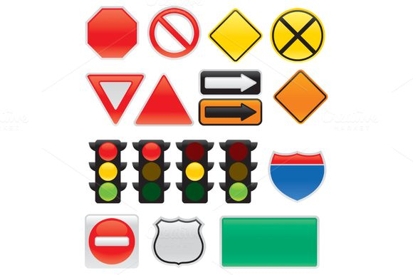 Map And Traffic Signs And Symbols by @Graphicsauthor