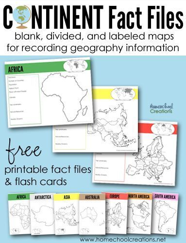 Teaching geography helps - continent fact files and flash cards for children to write down important continent information, from http://HomeschoolCreations.net.