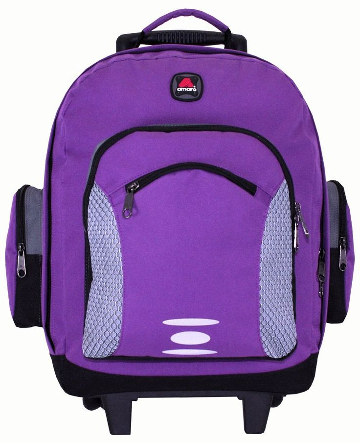 """Academy Wheel Backpack Purple Color by amaro 52184. 2 large main compartments for versatile storage. Dual Side Zipper pocket. Wheeled daypack with tuck-away shoulder straps to convert to backpack. 13""""LX7WX17H."""