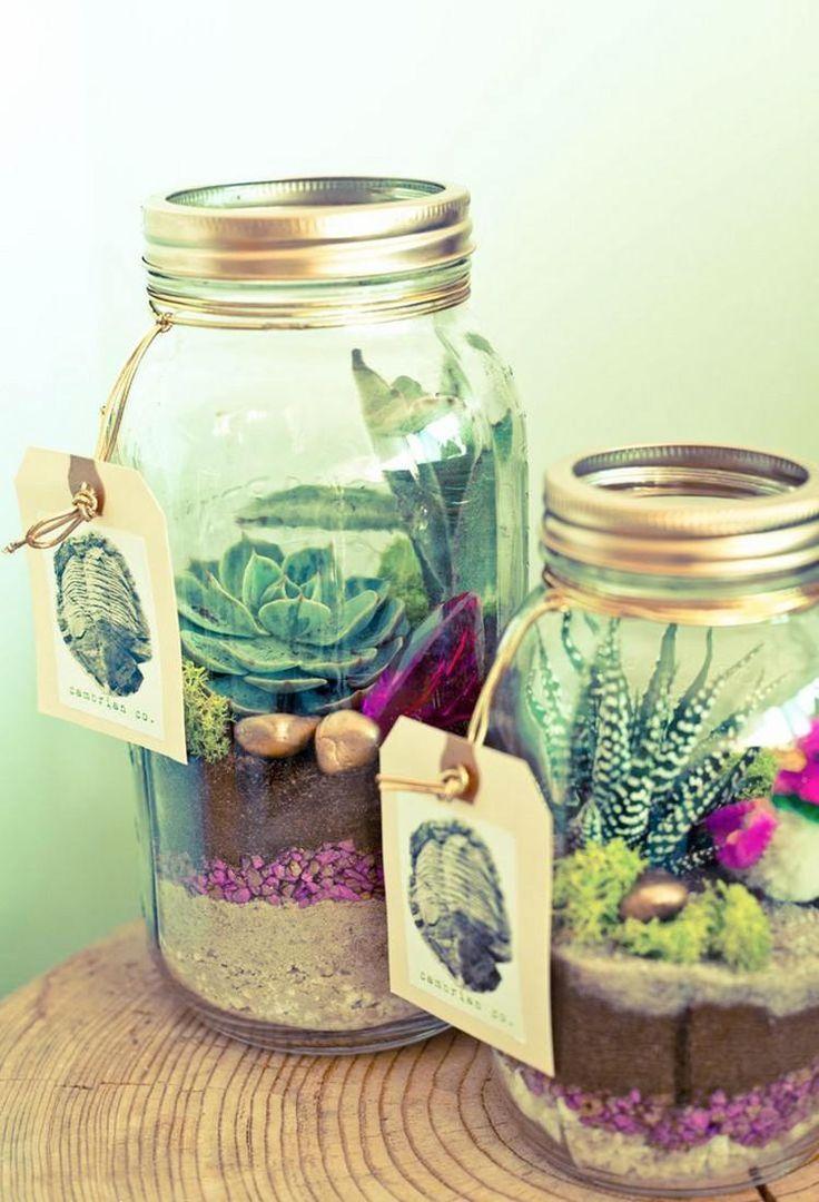 des pots de confiture décoratifs transformés en terrariums pour succulentes