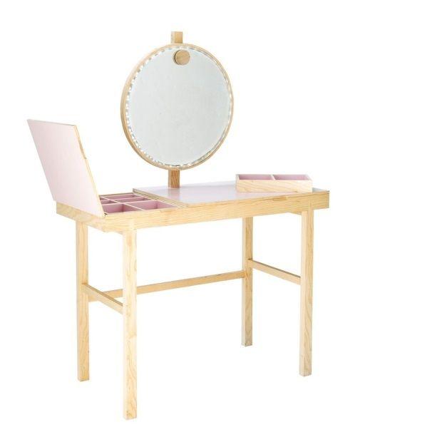 Bloomingville Phine Make-Up Tafel 100 cm - Naturel/Roze - afbeelding 1