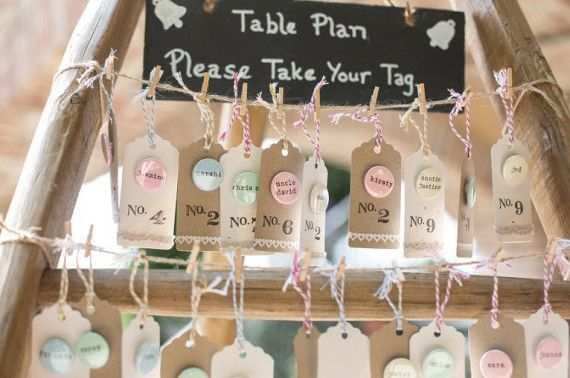 Personalised badge table plan using luggage tags - love!