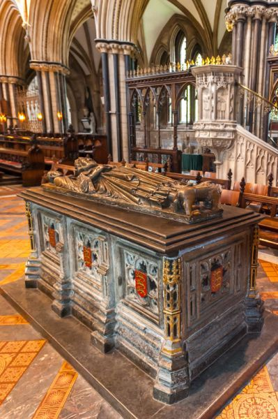 King John's tomb in Worcester Cathedral, England. The effigy is the original top of his funeral coffin, he died in 1216