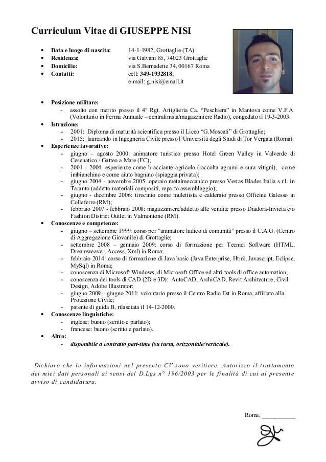 Curriculum Vitae X Operaio Modelos De Curriculum Vitae