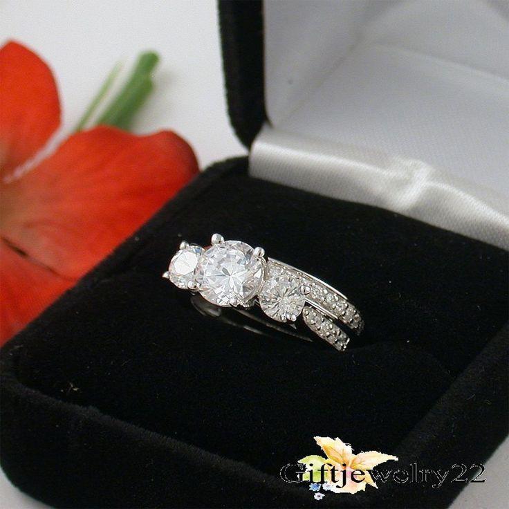 1.40 Ct Diamond Engagement Ring Wedding Band Bridal Set Round Cut 14K White Gold #giftjewelry22