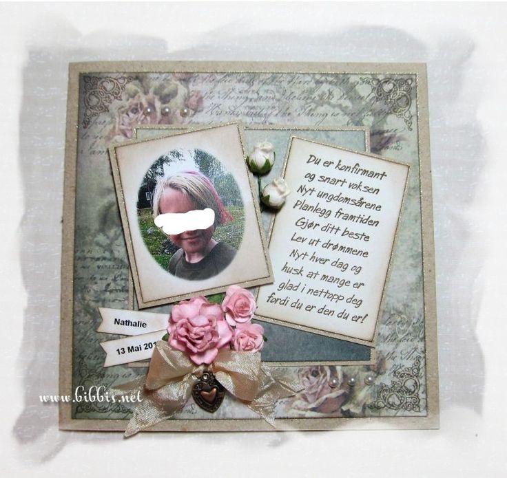 Enda et konf.kort i grønntoner og litt rosa. Selve kortet er i kraftkartong. Pyntet med roser, charm, perler, bånd og glitterpenn.       ...