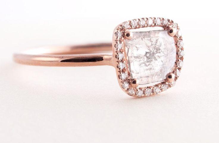 Rough diamond engagement ring rose gold