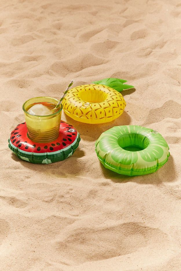 Tiny floats that'll hold your drinks while you're chilling on the beach.