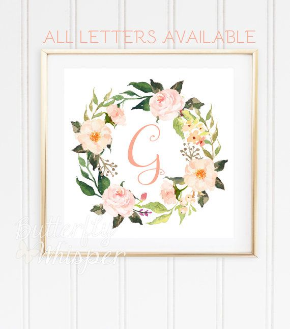 Monogram baby letter for wall printable, Nursery initials, Baby girl flower letter G, Watercolor nursery wall art, Wreath letter DOWNLOAD