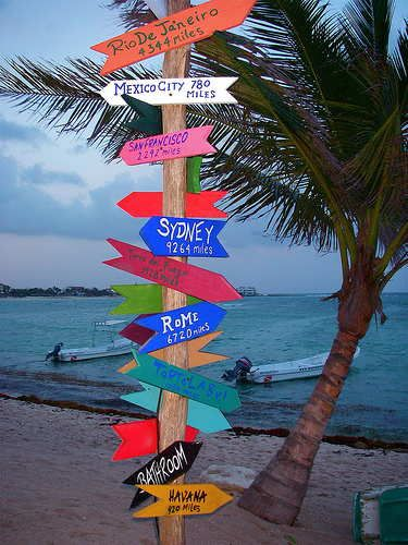 Akumal Beach Sign Post ~ Playa Del Carmen, Mexico
