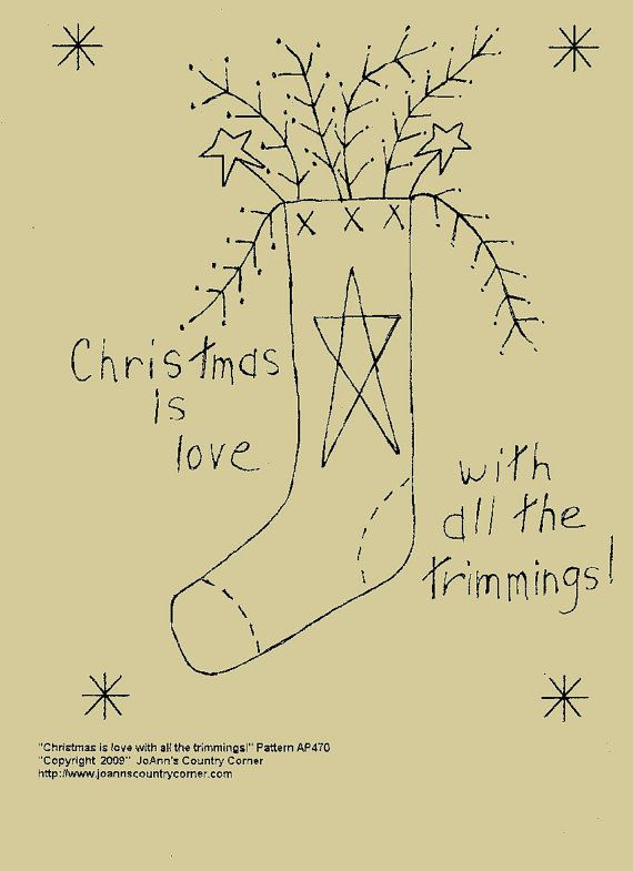 Primitive Stitchery EPattern Christmas by JoAnnCountryCorner, $2.00
