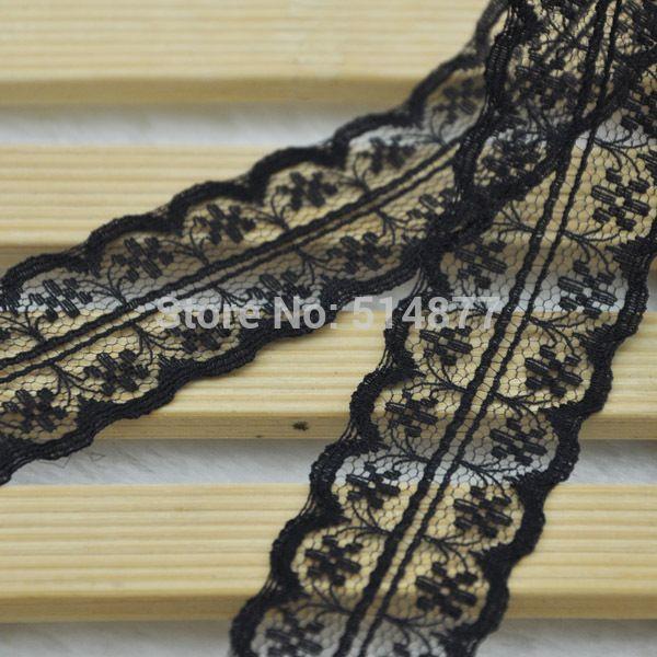 5Y 1  черная вышитые хлопок тримминговочные аппликации свадьбы ремесла ткань LC19-2