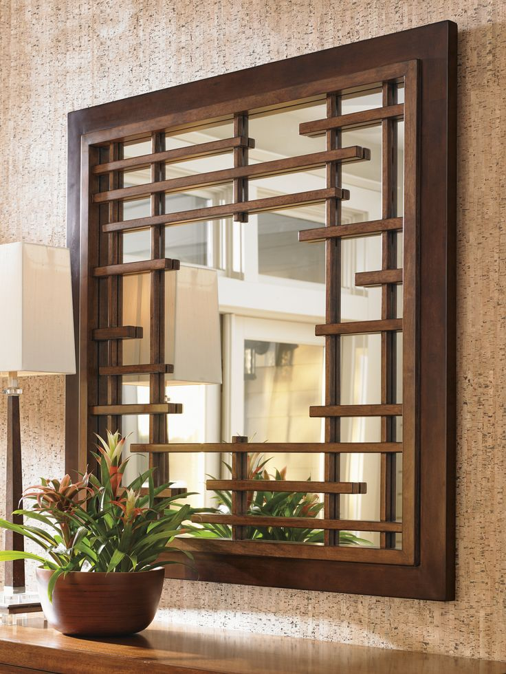 Island Fusion Mikasa Square Mirror  with Asian Fretwork from Tommy Bahama Home Furniture