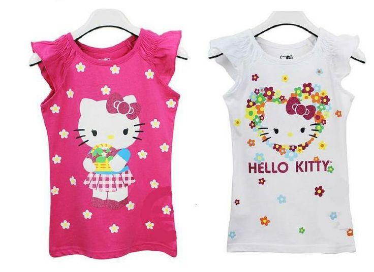 2014 Baby Girls Cute Cartoon Hello Kitty Short Sleeve Tshirt Kids T-shirt Children's Summer Clothes Free Shipping US $4.99