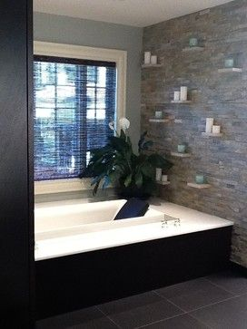 Master Bathroom - traditional - bathroom - bridgeport - by Holzman Interiors, Inc. - I don't know that I'll ever have that, but I love the shelves and candles. That's totally DIY doable