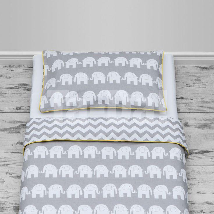 100 Cotton Cot Bed Duvet Cover Set S And Boys Grey Elephants Chevron