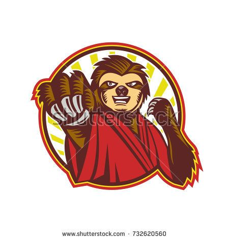Icon style illustration of a mascot of a Sloth Fighter Self Defense punching fighting viewed from front set inside circle on isolated background.  #slefdefense #icon #illustration