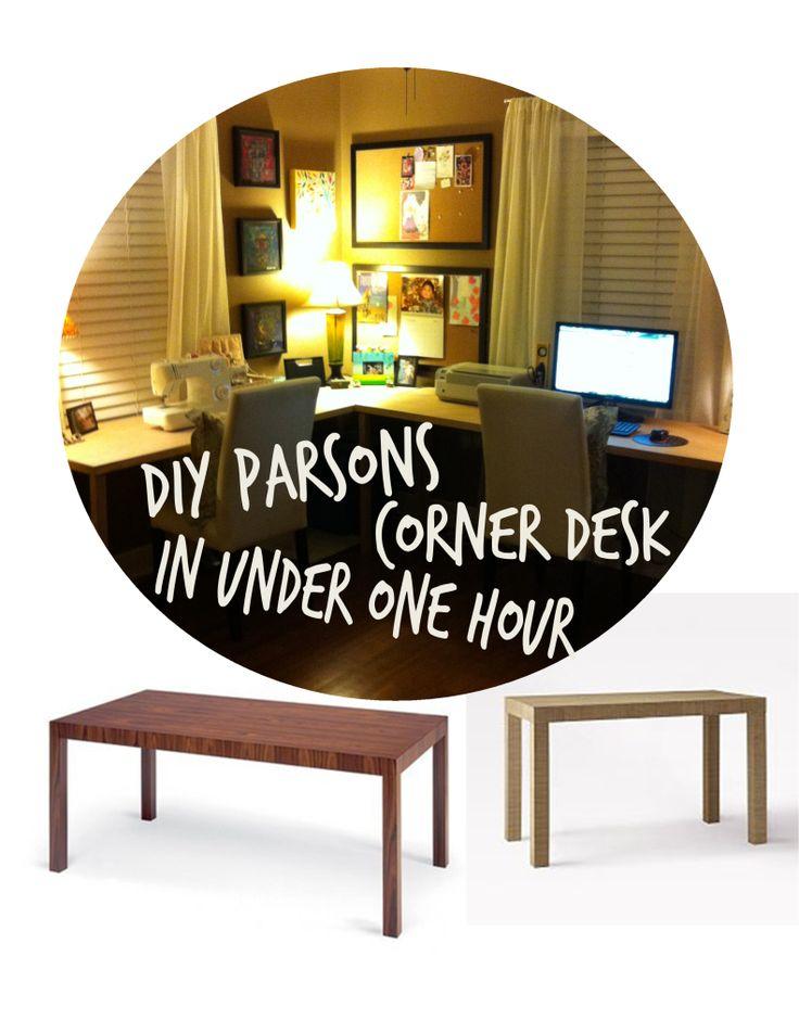 Diy parsons corner desk in under one hour it 39 s super easy for Diy corner desk