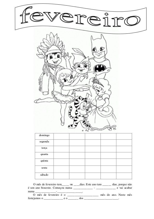 Calendarios De Fevereiro Para Preencher Atividades De Matematica