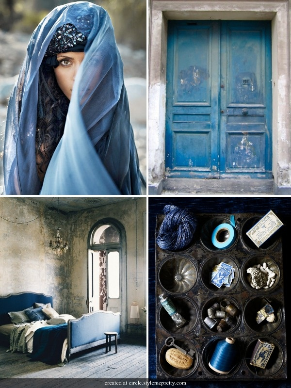 """""""Something (Dramatically!) Blue"""" Wedding Gown Style Inspiration Board"""