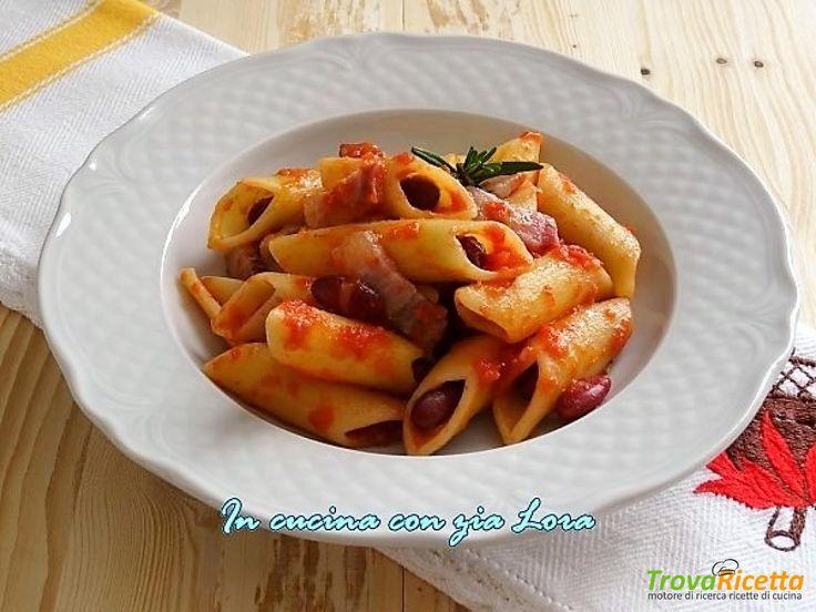 Pennoni con fagioli e pancetta  #ricette #food #recipes