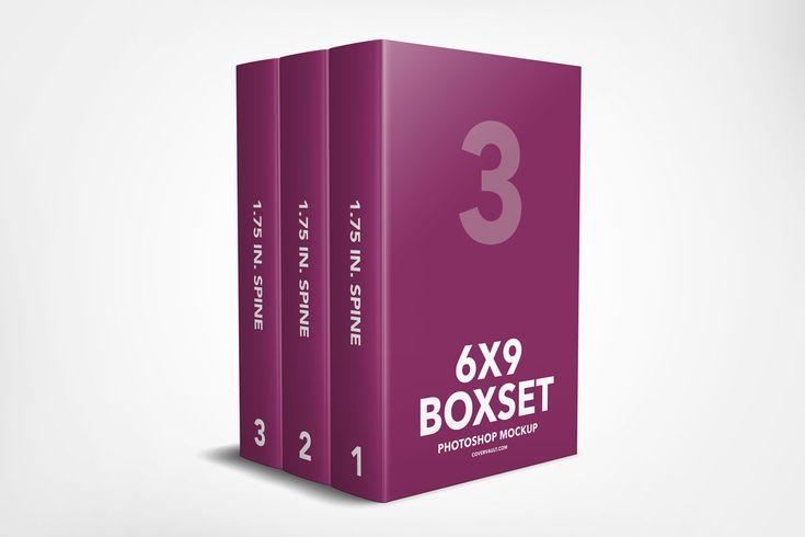 box set template mockup 3 book psd