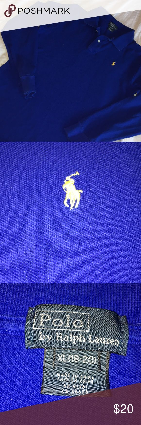 Boys long sleeve polo shirt XL boys long sleeve RL polo shirt EUC  My son wore once on Easter for an hour This is perfect shape  Beautiful bright blue almost colbalt in color Polo by Ralph Lauren Shirts & Tops Polos