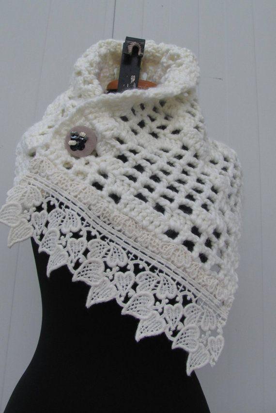 Crochet Scarf  Off White Winter Accessory  Winter Knit