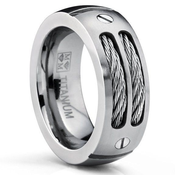 Find More Rings Information about 2015 Hot Men's Wedding Rings 8MM Men's Stainless Ring Wedding Band with Stainless Steel Cables and Screw Design Sizes 6 to 13,High Quality ring cross,China band video Suppliers, Cheap ring band design from Fashion ---stainless steel on Aliexpress.com