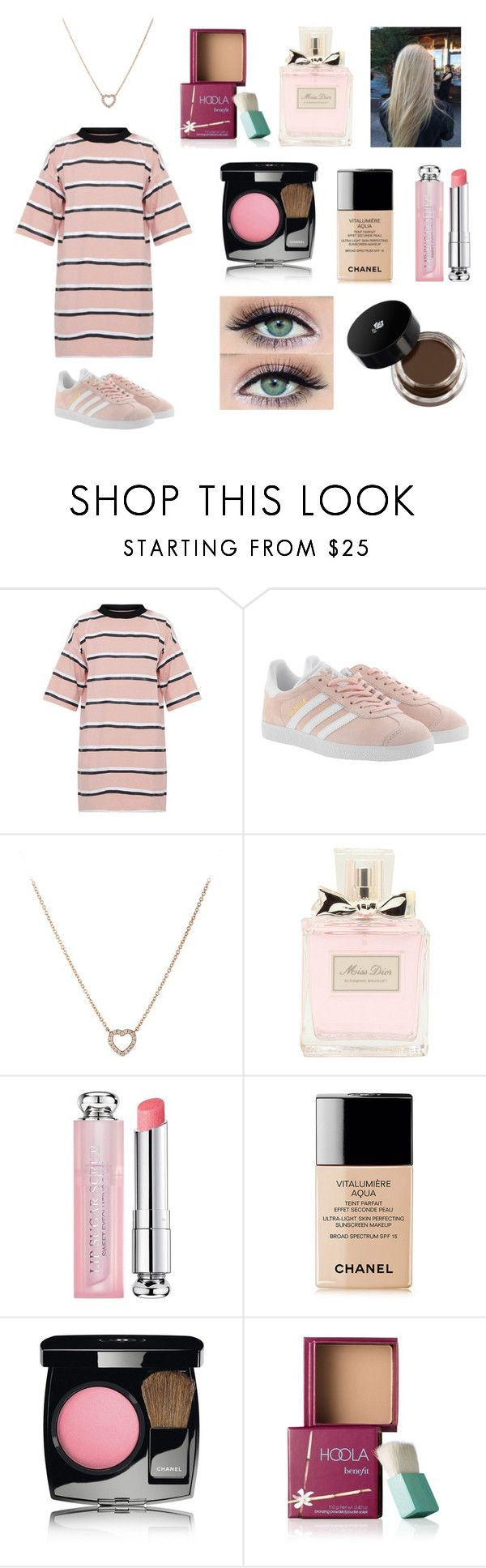 """""""THINK PINK"""" by indiac-joseph on Polyvore featuring adidas Originals, Tiffany & Co., Christian Dior, Chanel, Benefit and Lancôme"""