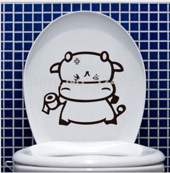 2014 новый корова туалет стикер ванная комната обои мультфильм главная переводные картинки съемный DIY