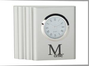 brushed zinc designer desk clock - Designer Desk Clock