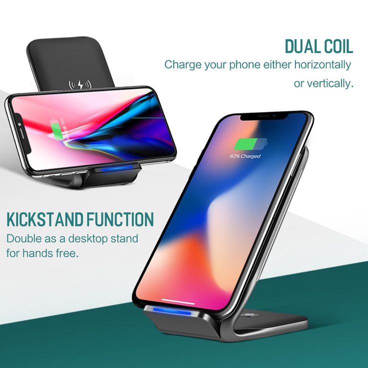ROCK W3 Wireless Dual-coil Phone Charging Stand Fast Wireless Sales Online black - Tomtop.com