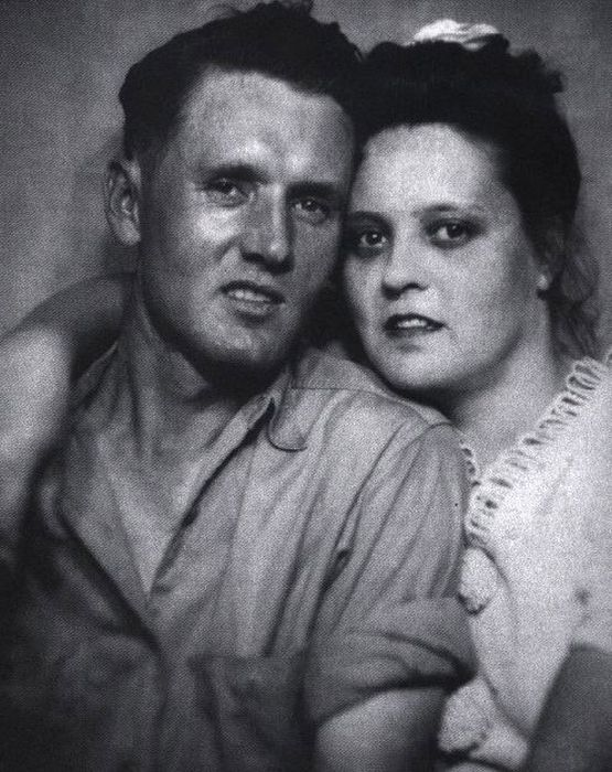 Elvis Presley's Mother and Father.  Looking at this photo I can see Elvis in both of his parents.  He had his mothers eyes and his fathers nose, cheekbones and mouth.