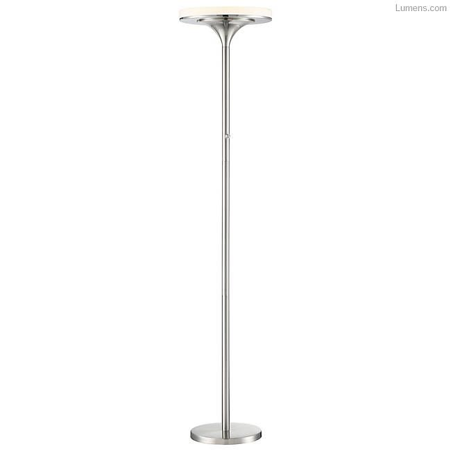 The George Kovacs U.H.O. LED Floor Lamp is a perfectly functional torchiere with a diffused beam of up light and a Brushed Nickel metal structure. The thick White Acrylic shade adds a nice depth to the top of the fixture, creating an additional ring of light in profile. By using integrated LEDs, the upward spread of light can be seamlessly executed, improving the illumination with the added benefit of energy-efficiency.