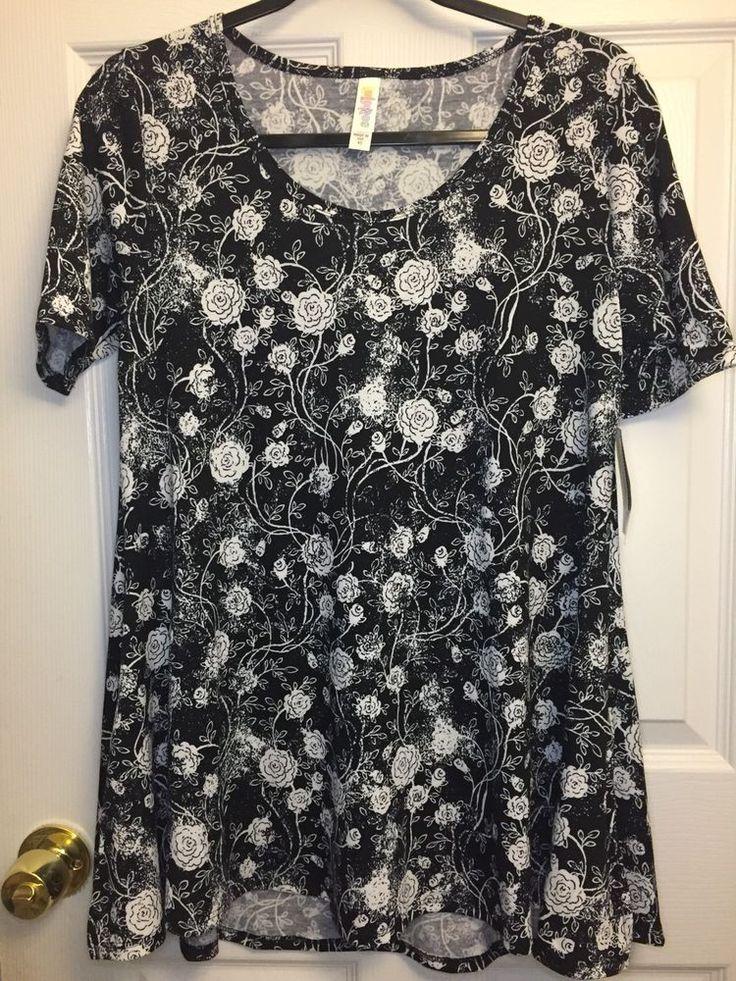 NWT LuLaRoe Perfect T Size XS Extra Small Black Background w/ White Roses #LuLaRoe #PerfectT