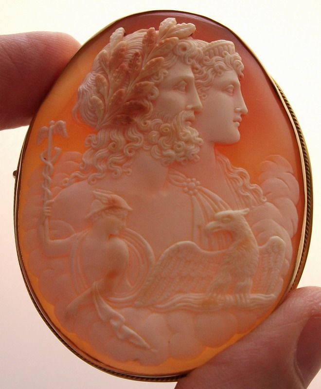 """Zeus and Hera""-Material: Cornelian Shell, 9 k gold marked.   Size: 2 3/8"" by 1 7/8"". Only cameo is 2 2/8"" by 1 6/8"".   Date and Origin: Circa 1860 Italy."