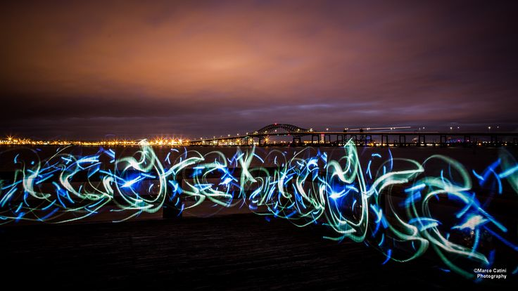 Newark Bay at night, with some lightpainting.