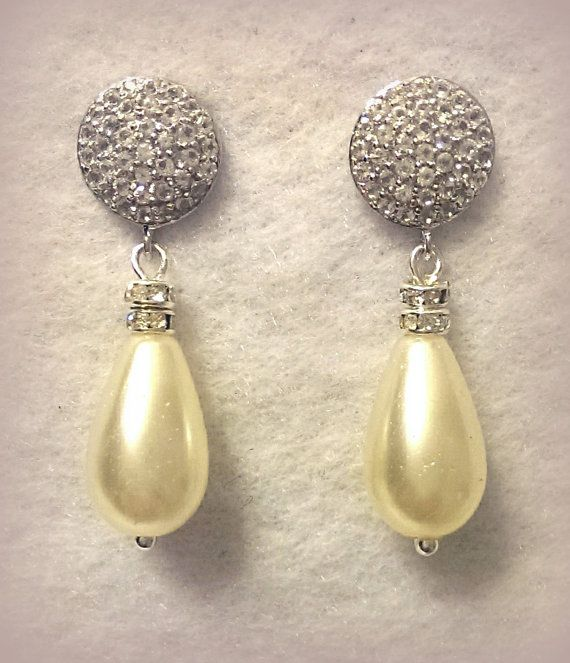Ivory Teardrop Pearl with White Topaz encrusted by NHjewel on Etsy, $96.00