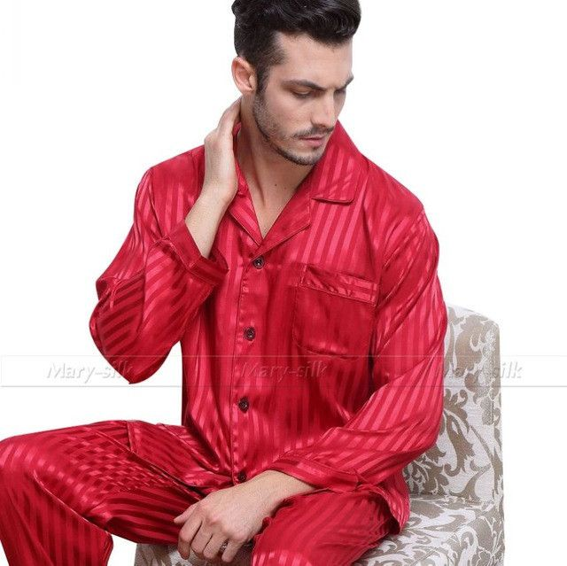 Mens Silk Satin Pajamas Set Pajama Pyjamas Set PJS Sleepwear Set Loungewear Plus Striped