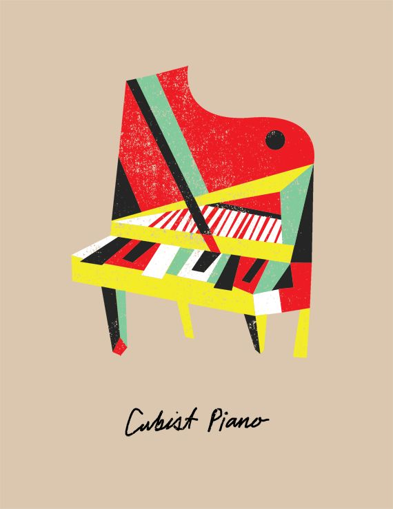 Picasso's Lost Instruments - bradwoodarddesignMusic, Art Prints, Lost Instruments, Brad Woodward, Brad Woodard, Picasso Lost, Cubist Piano Web, Floor Art, Pablo Picasso