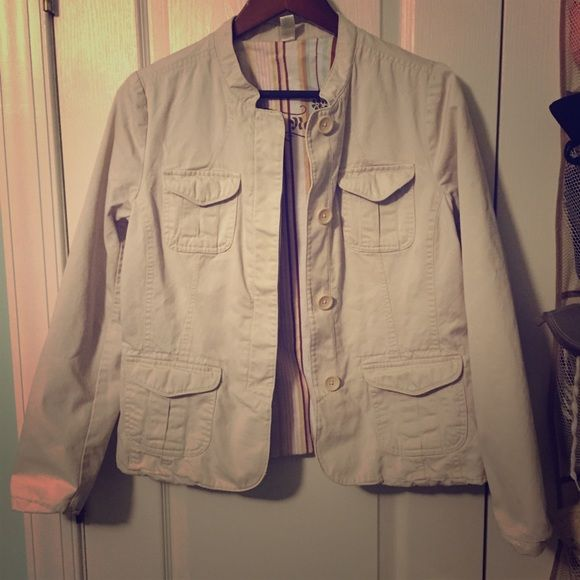 Old navy khaki jacket! Light colored khaki jacket from old navy. I just never wear this and it's deserves to be worn! The lining on the inside is cute and multi-striped. Old Navy Jackets & Coats