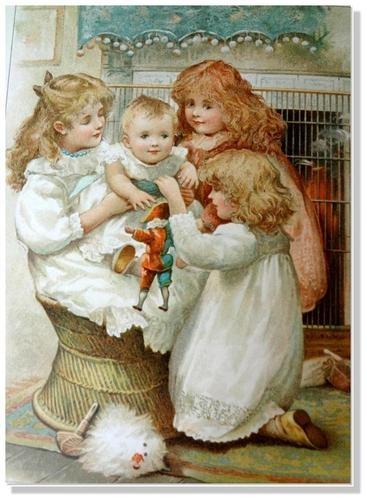 "Harriett Mary Bennett - English - vintage postcard taken from the book, ""Golden Playhours"" illustrated by Harriett Mary Bennett."