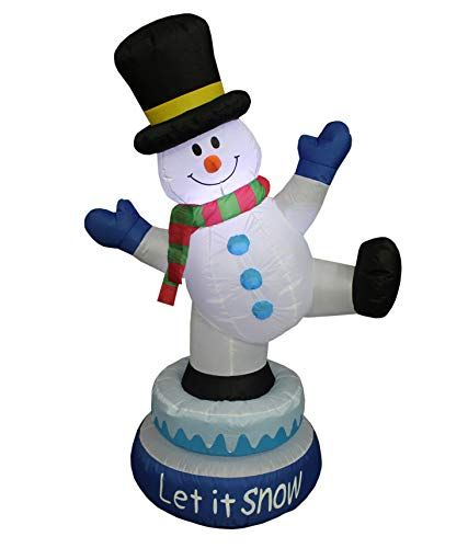 5 Foot Tall Lighted Animated Christmas Inflatable Snowman with Hat