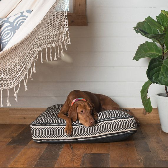 Black and White Geometric Square Dog Bed by FILLYDOG by fillydogco