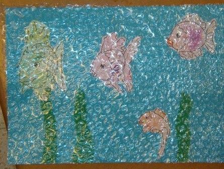 bubbelpapier en schilderwerk
