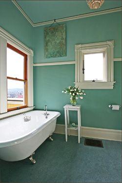 spa bathroom - love the green!